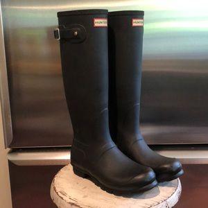 Original Tall Matte Black Hunter Boots Size 8
